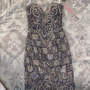 JOVANI Gunmetal Beaded Cocktail Dress